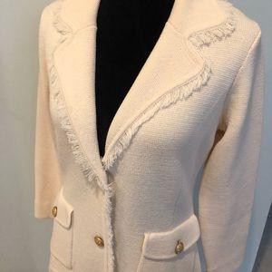 Bloomingdales Off-White Stretch Knit Frayed Blazer